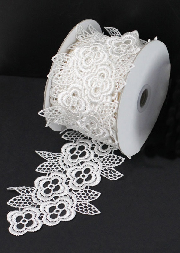 "4"" White Lace Ribbon - 5 Yards"