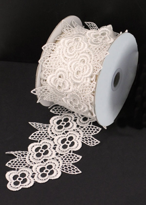 "4"" Ivory Lace Ribbon - 5 Yards"