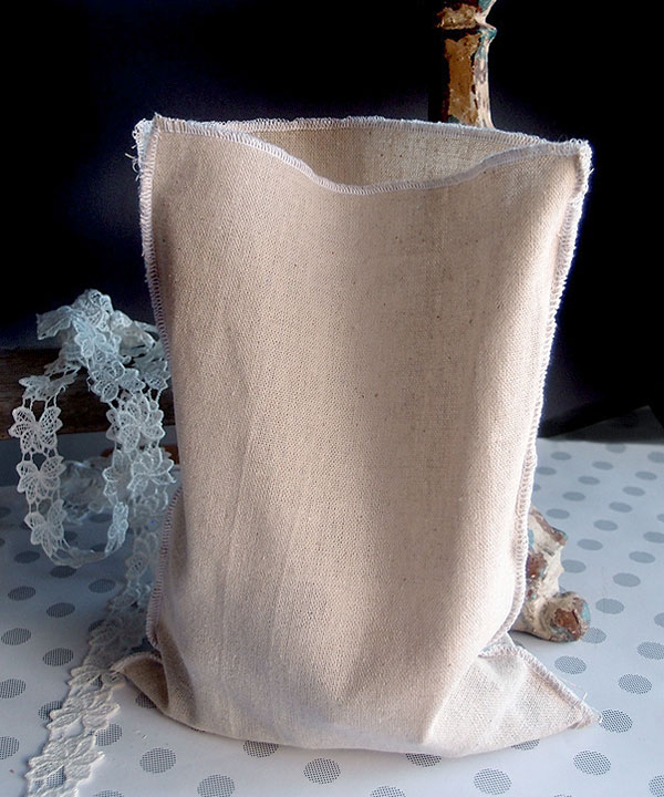 "7 3/4"" x 10"" Linen Pouch Bags with White Serged Edges -12 Pack"