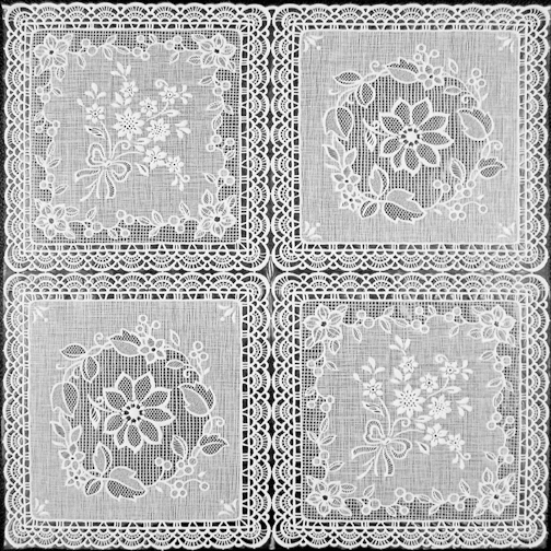 "White Vinyl Lace with Lining - Per Yard (no felt back) 54"" Wide"