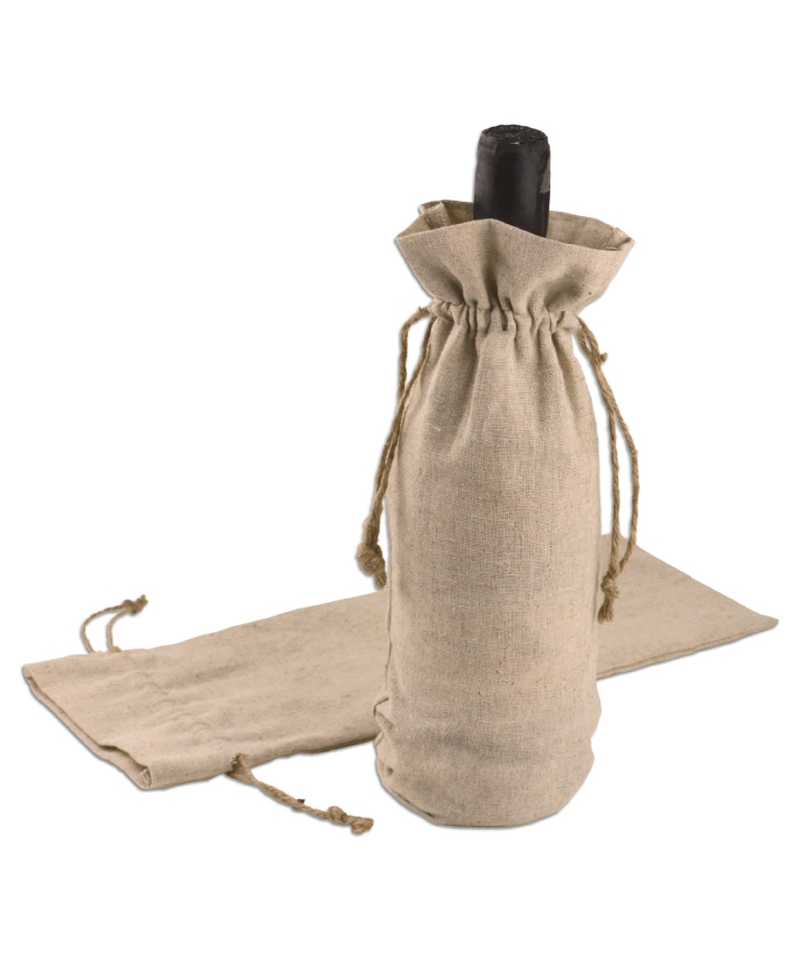 "6"" x 14"" Linen Wine Bag with Jute Draw (12/pk)"