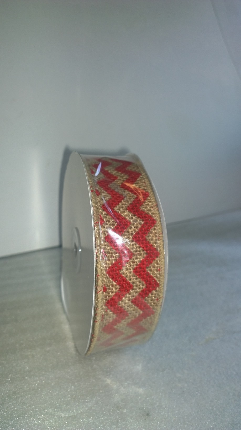 "1.5"" Red Chevron Burlap Ribbon - 10 Yards"