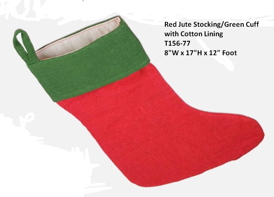 "Red Burlap Stocking with Green Cuff 8"" x 17"""