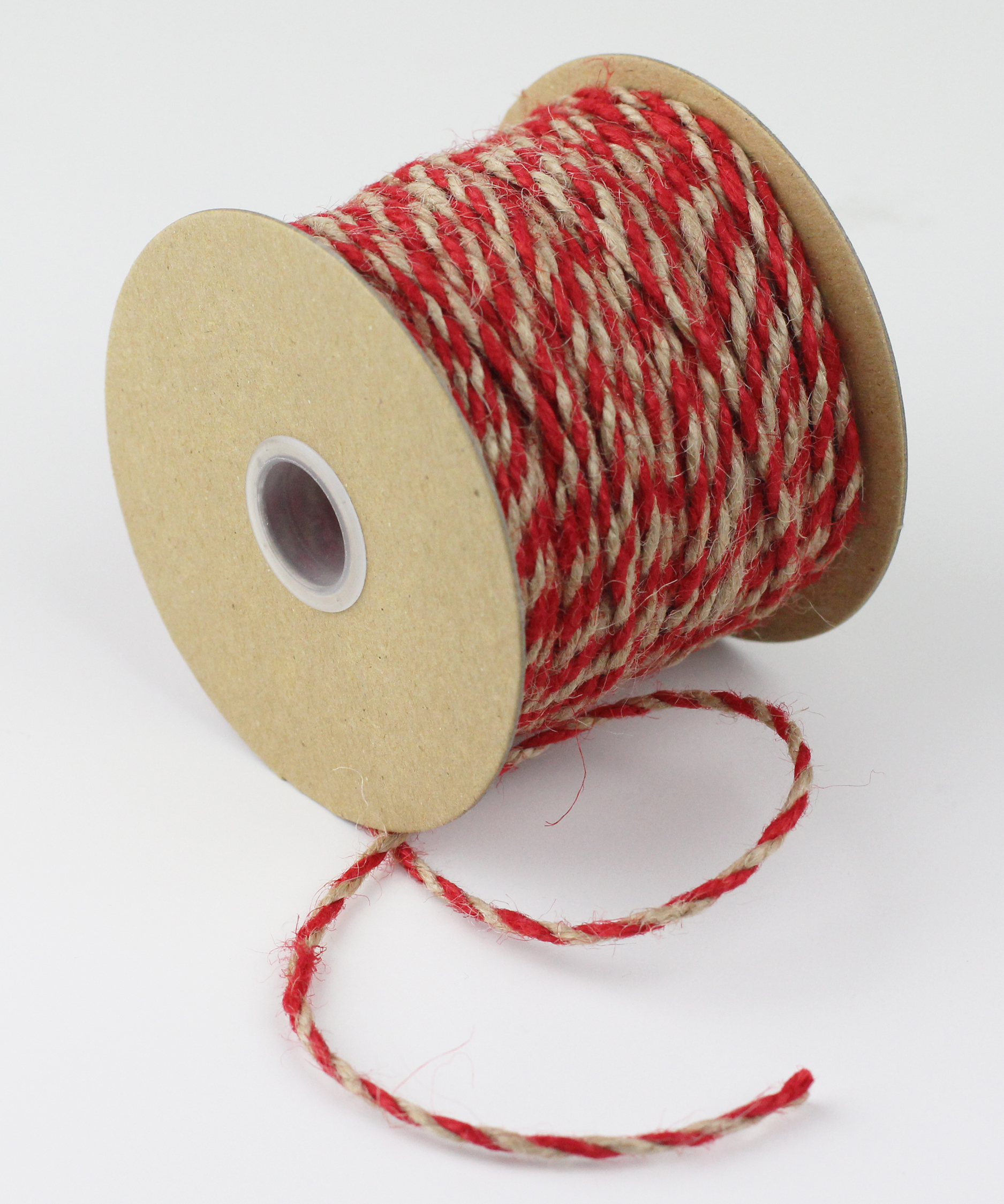 2.5 mm Red/Natural Jute Twine - 50 Yards
