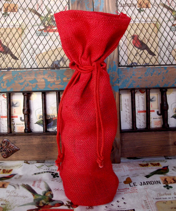 "RED JUTE WINE BAG WITH DRAWSTRING 6"" X 15"" X 3.5"""