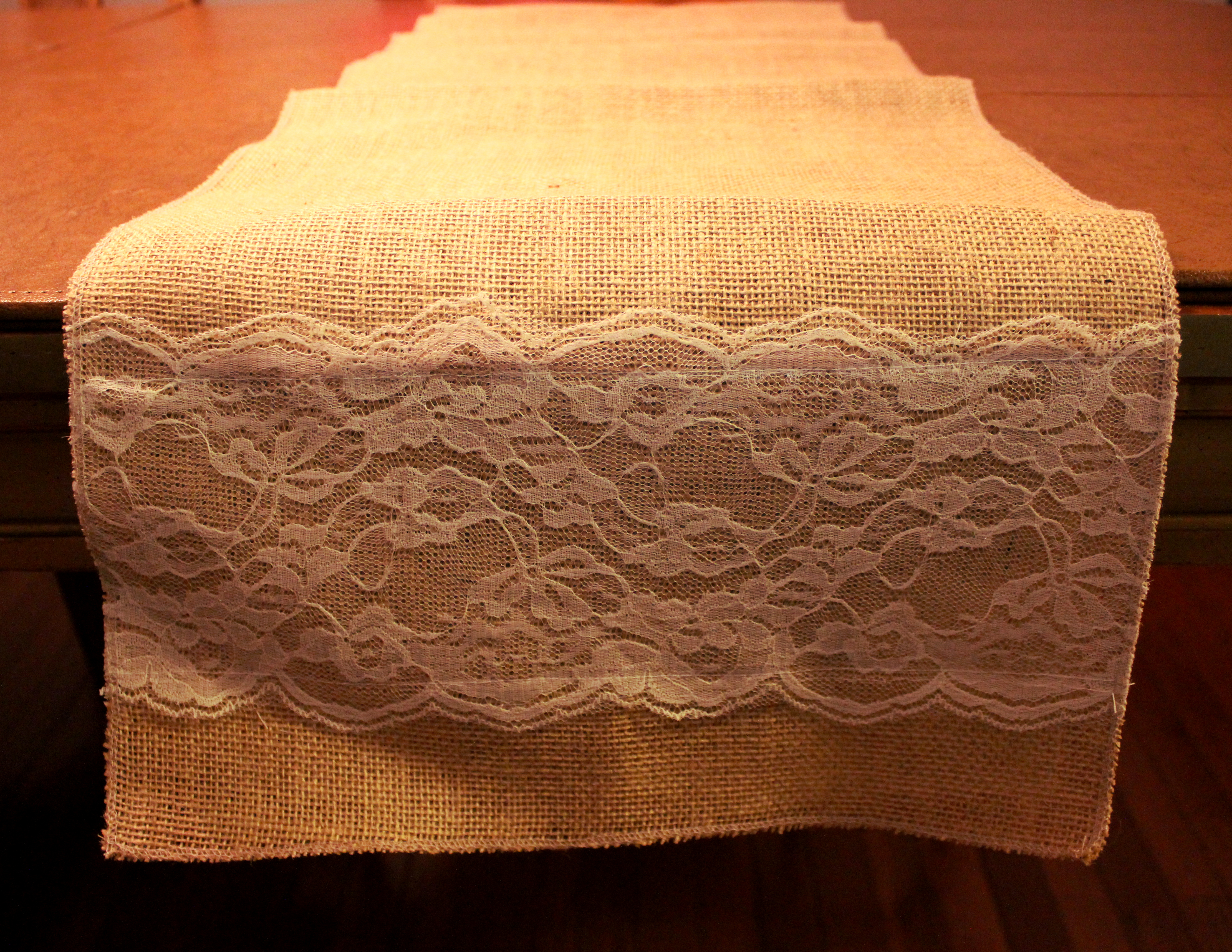 "Burlap Table Runner with Lace Across - 14"" Wide"