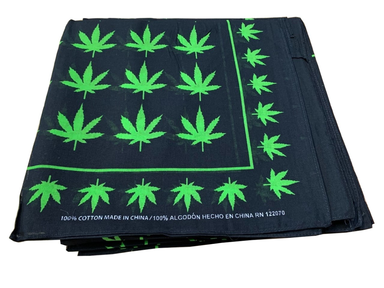 "Marijuana Leaves Weed Bandanas 12 Pk 100% cotton 22"" x 22"""
