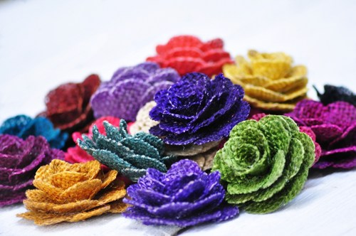 "Assortment of Burlap Flowers - 2"" Diameter (Sold by the dozen)"