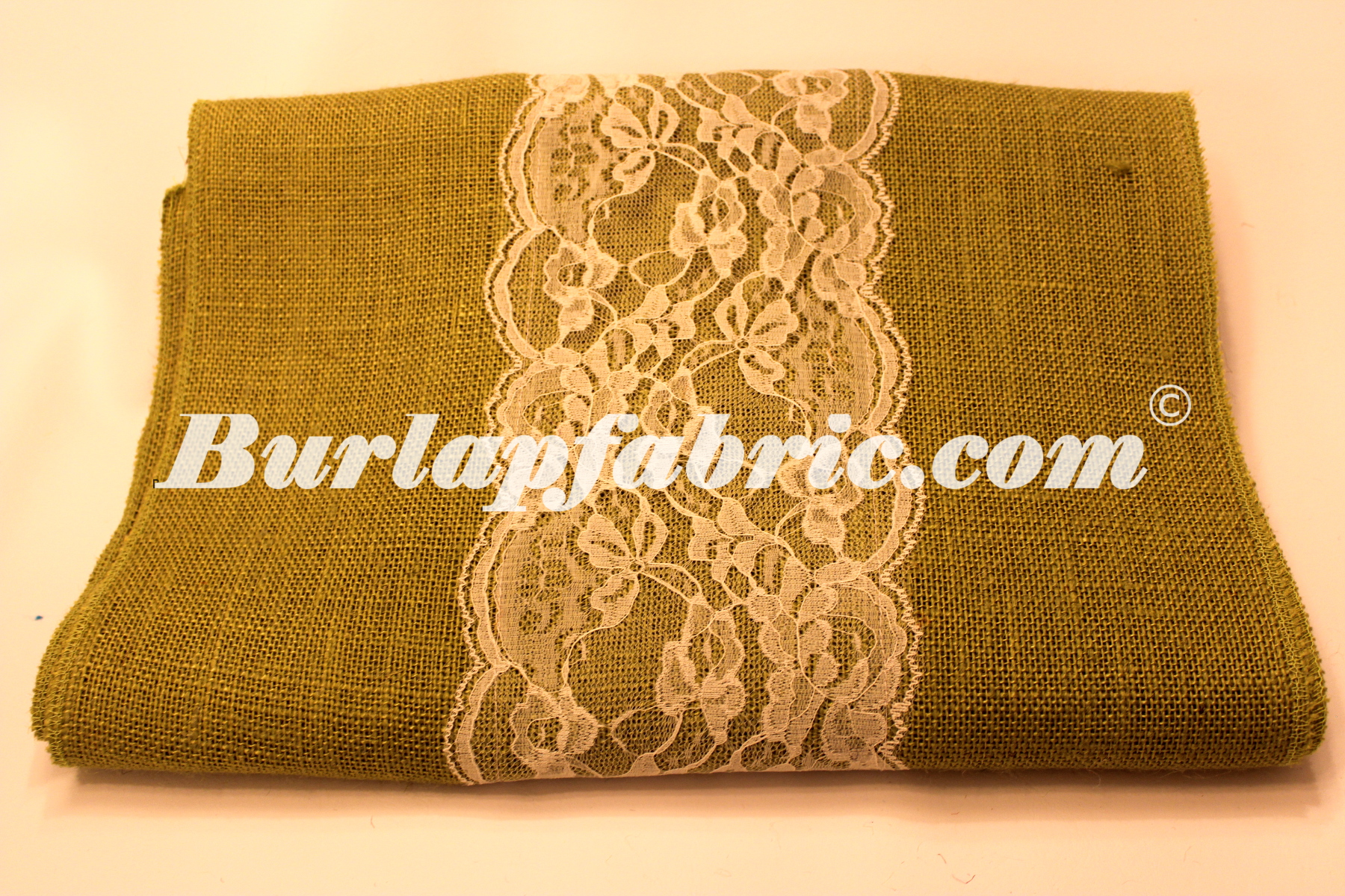 "14"" Avocado Burlap Runner with 6"" Ivory Lace"