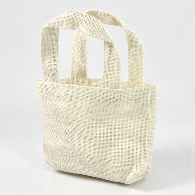 "5"" x 5"" x 2"" Off White Burlap Tote Bags (6 Pack)"