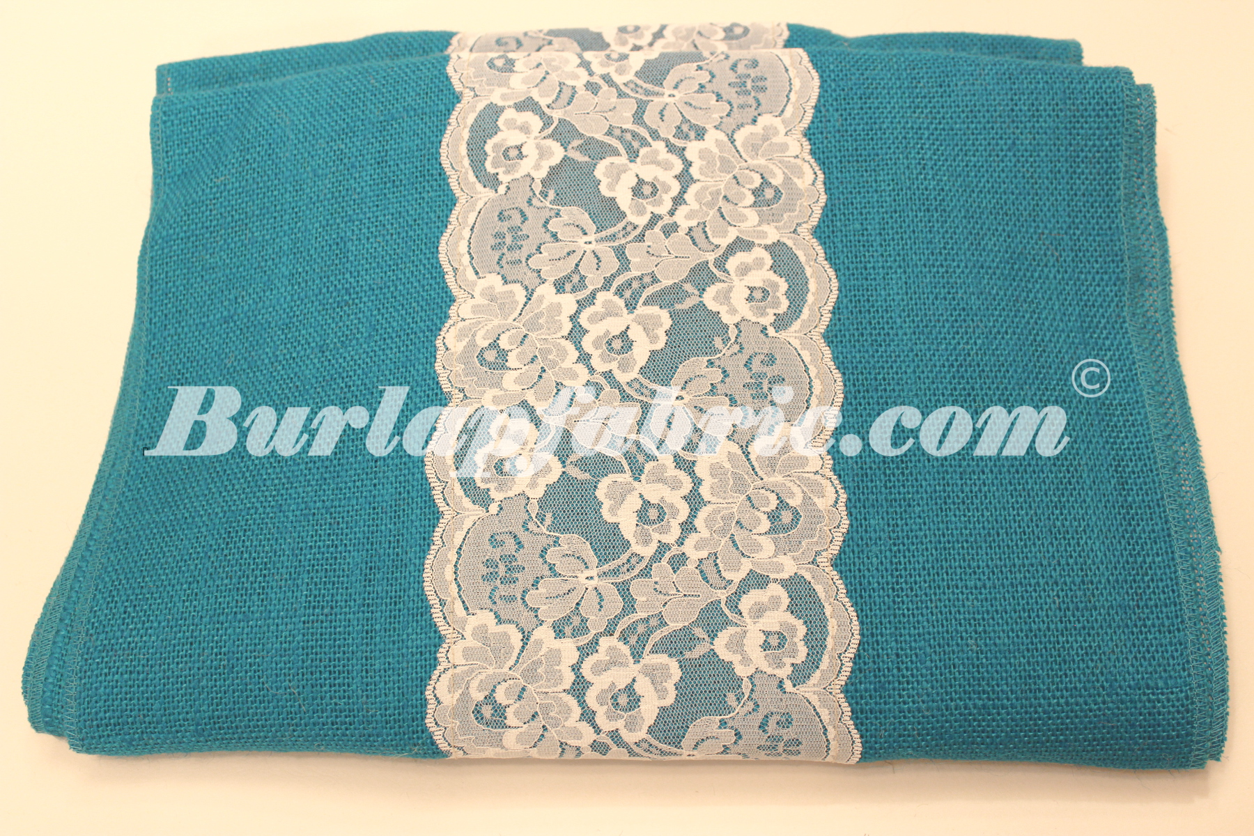 "14"" Bahama Turquoise Burlap Runner with 6"" White Lace"