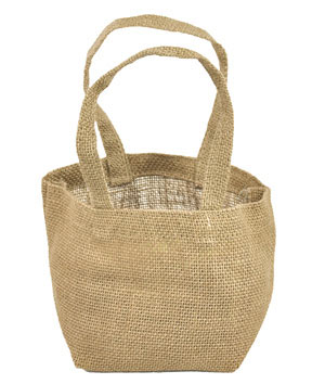"Jute Tote Bags - 4"" x 4"" x 4"" Natural (6 Pack)"