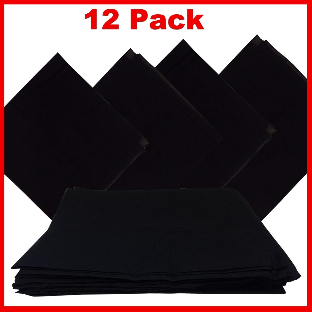 "14"" x 14"" Black Bandanas Solid Color (12 Pk) 100% Cotton"