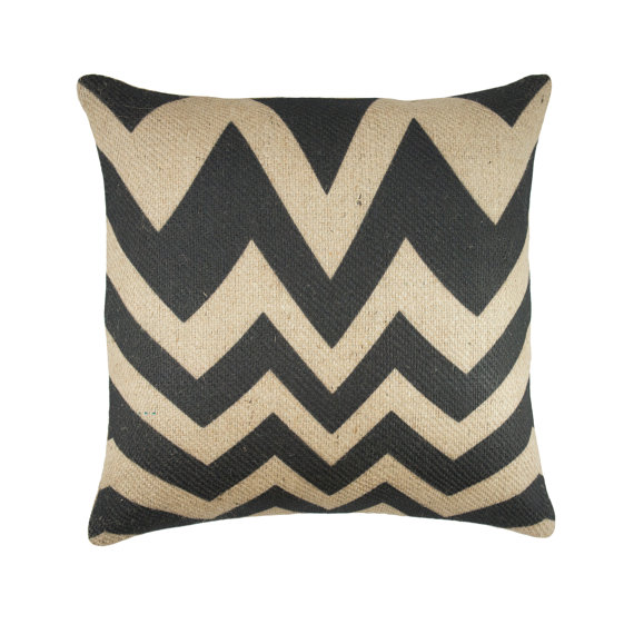 "Black Chevron Burlap Case 18"" x 18"""