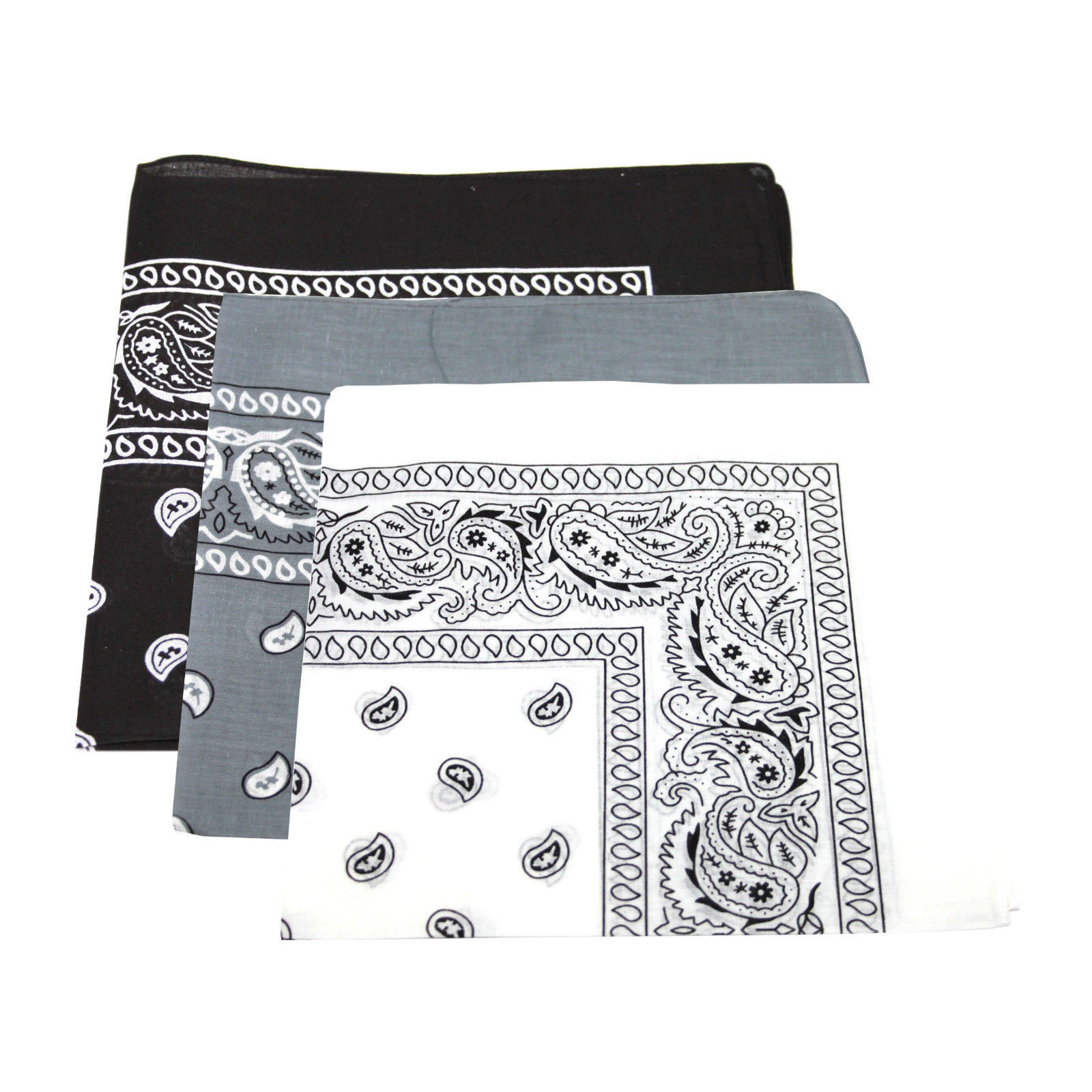 "Paisley Bandanas Black, White, Grey 22"" x 22"" Cotton (12 Pk)"