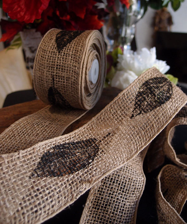 "2.5"" Natural Wired Burlap Ribbon Black Leaf Print 10 Yards"