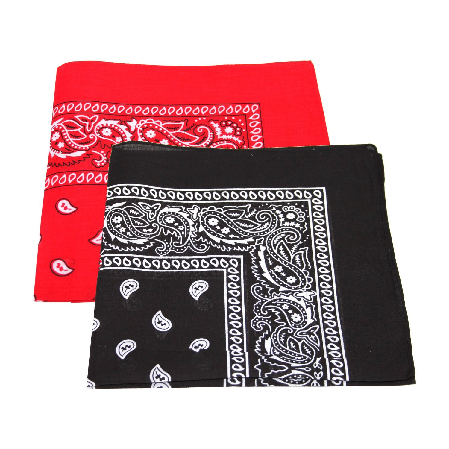 "PAISLEY BANDANAS BLACK & RED 22"" X 22"" COTTON (12 PK)"
