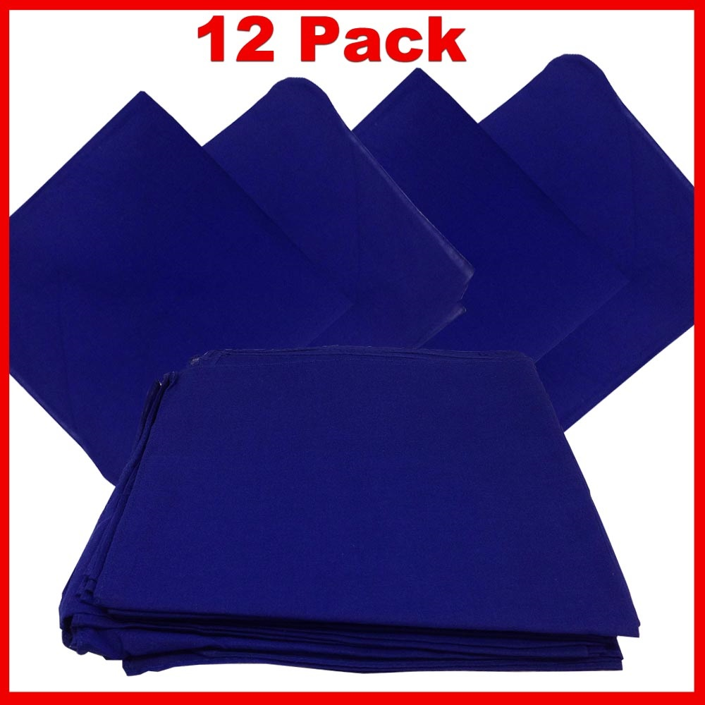 "14"" x 14"" Blue Bandanas Solid Color (12 Pk) 100% Cotton"