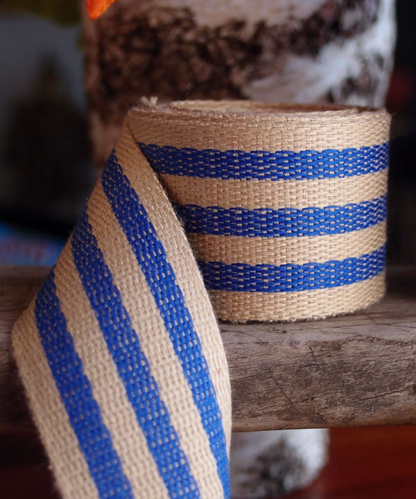 "Blue Stripe Faux Burlap Ribbon 1.5"" x 10 Yards"