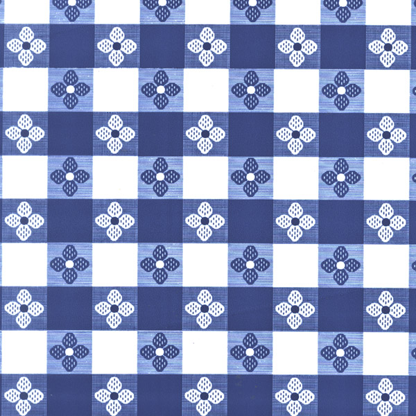 "54"" OilCloth, Blue Tavern Check without felt back - 1 Yard"