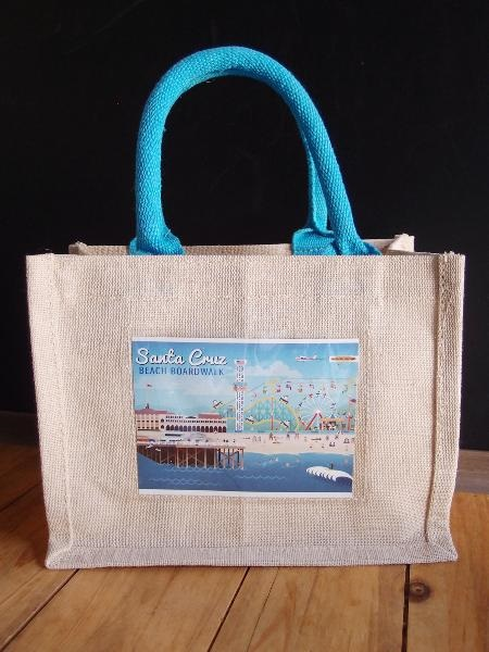 "Mini Blue Jute Blend Tote Bag W/Window 10"" x 8"" x 5"""