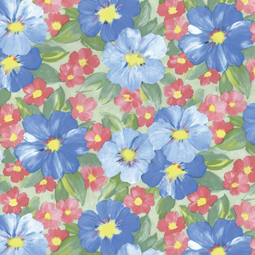 "54"" Bouquet OilCloth without Felt Backing - 1 Yard"