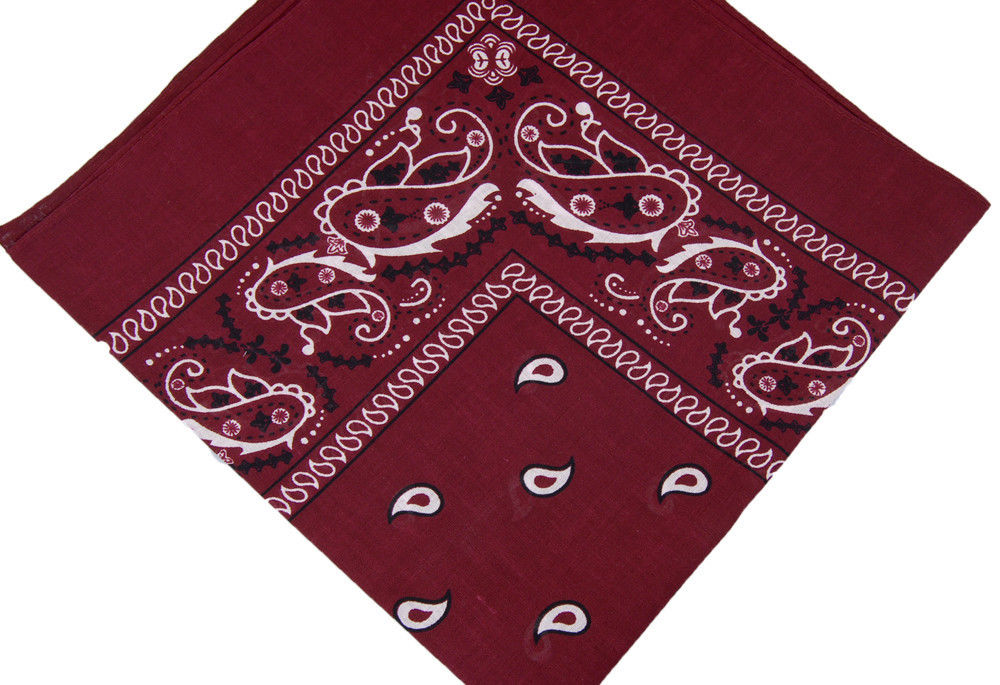 "Burgundy Paisley Bandana - 22"" x 22"" (100% cotton)"