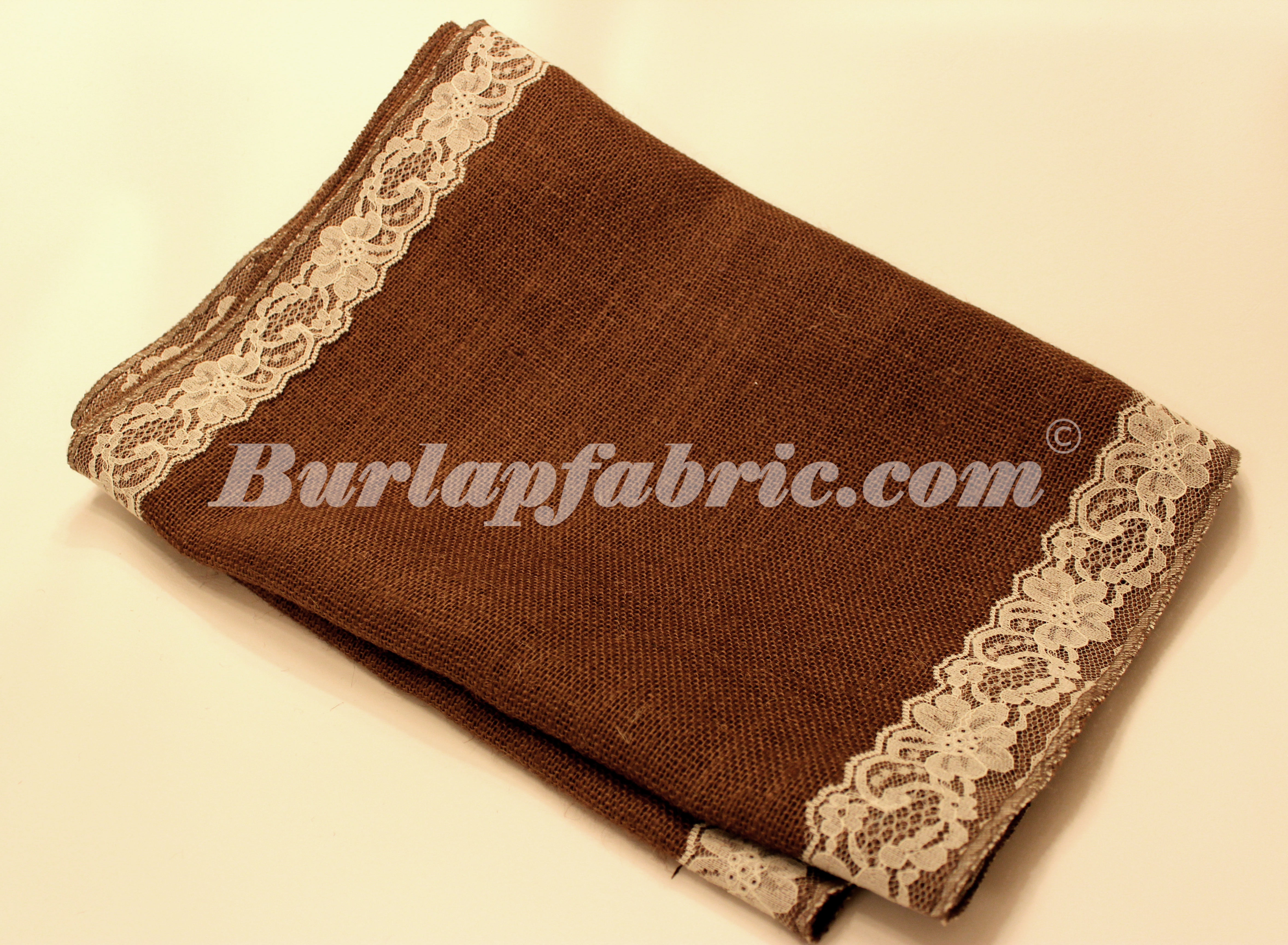 "14"" Brown Burlap Runner with 2"" Ivory Lace Borders"