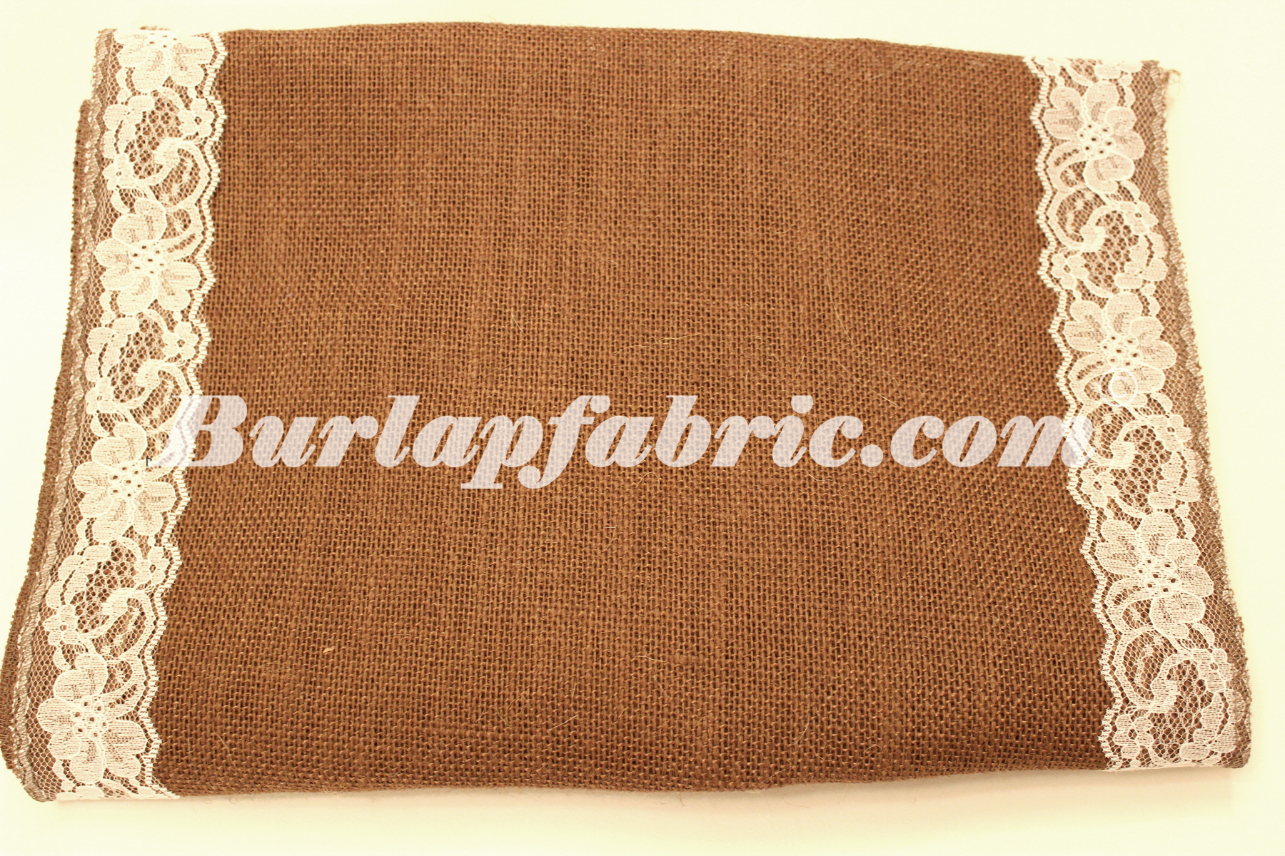 "14"" Brown Burlap Runner with 2"" White Lace Borders"