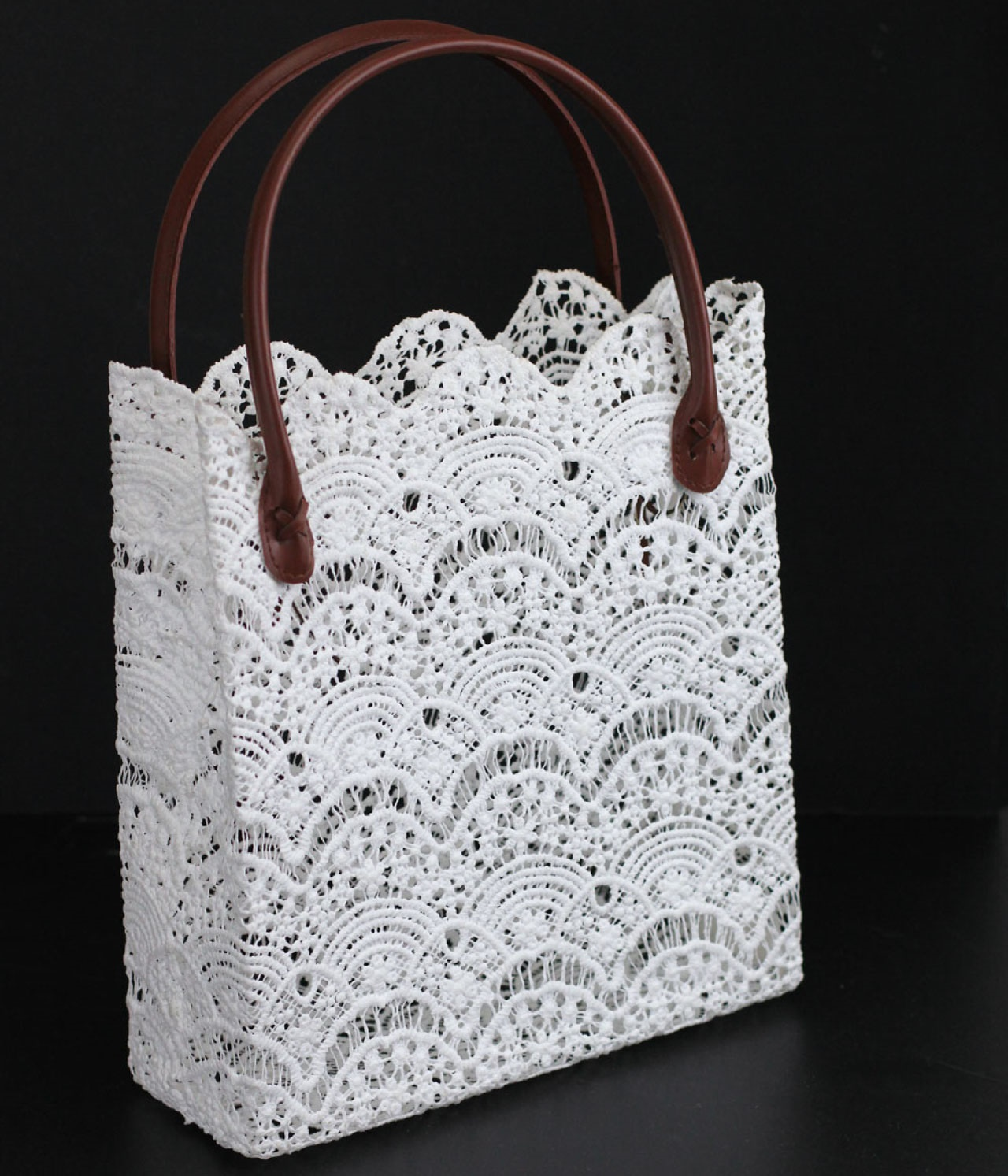 "11"" x 11.5"" x 4"" White Lace Bag with Brown Handles"