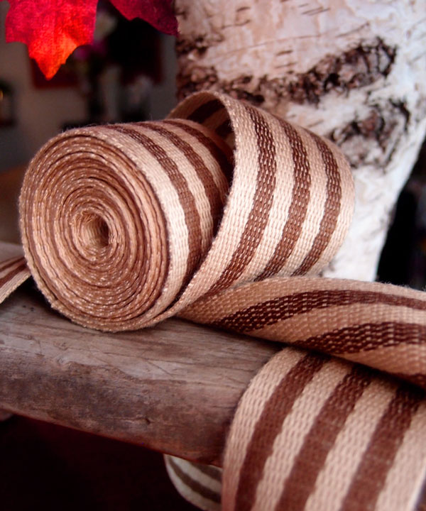 "Brown Stripe Faux Burlap Ribbon 1.5"" x 10 Yards"