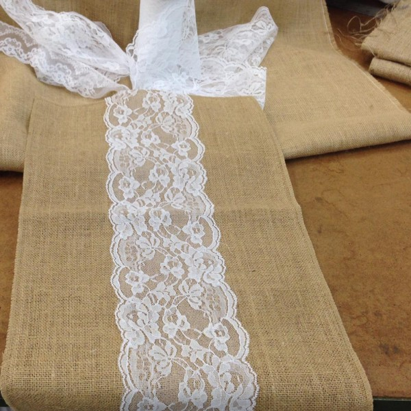"14"" Burlap Lace Runner with 6"" Lace"