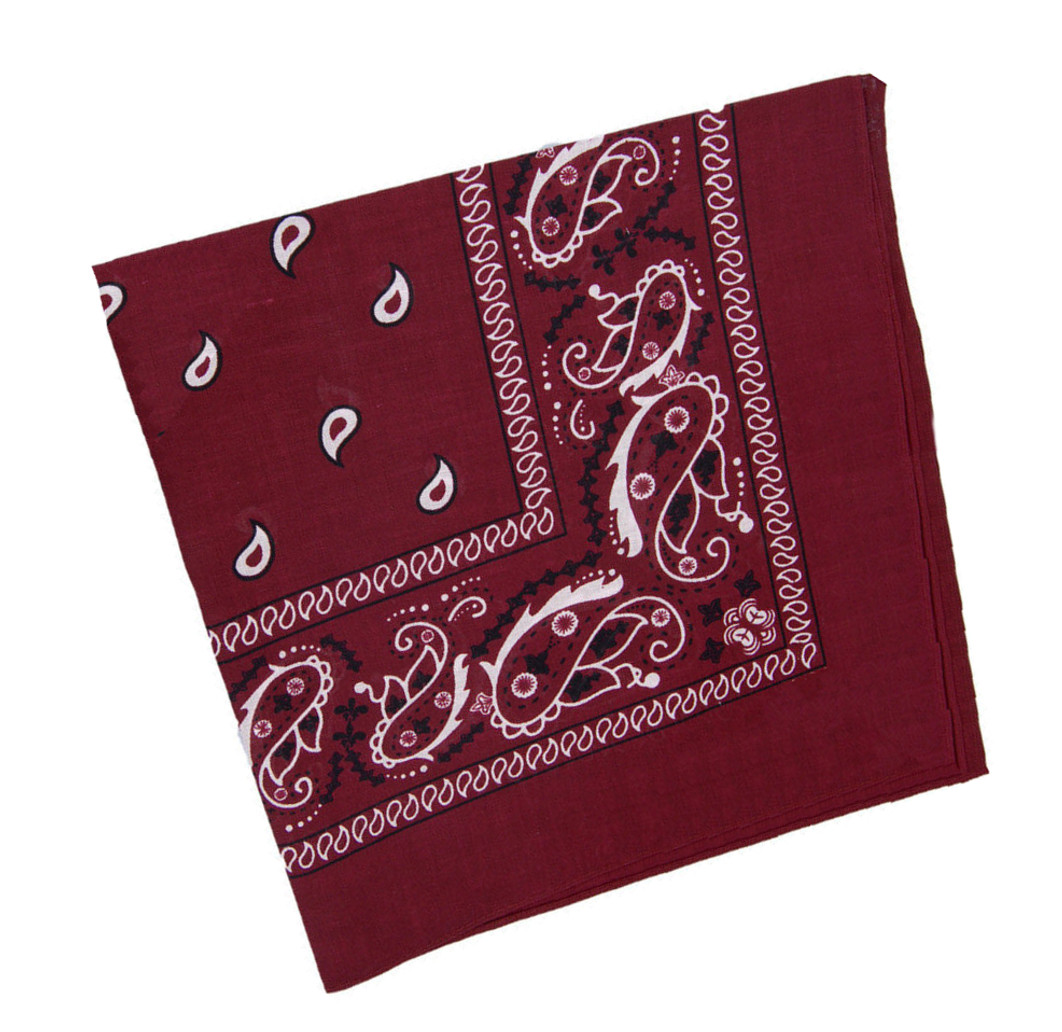 "Burgundy Paisley Bandanas (12 Pack) 22"" x 22"" 100% Cotton"