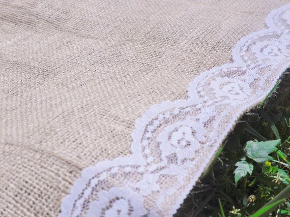 "Burlap Aisle Runner with Lace 40"" Wide"