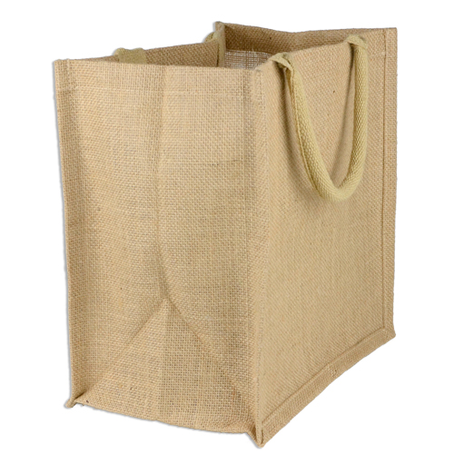 9 x 11 x 4 Jute Shopping Tote Bag Euro Style - Click Image to Close