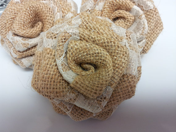Burlap Flowers with Ivory Lace (1 Dozen)