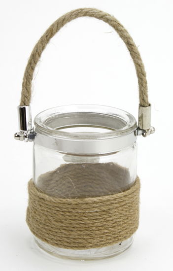 Burlap Glass Jar - Jute Rope Handle 3.4x4