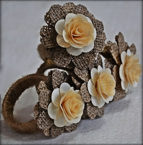 Burlap Ring Napkins with Wood Roses (4 Pack)