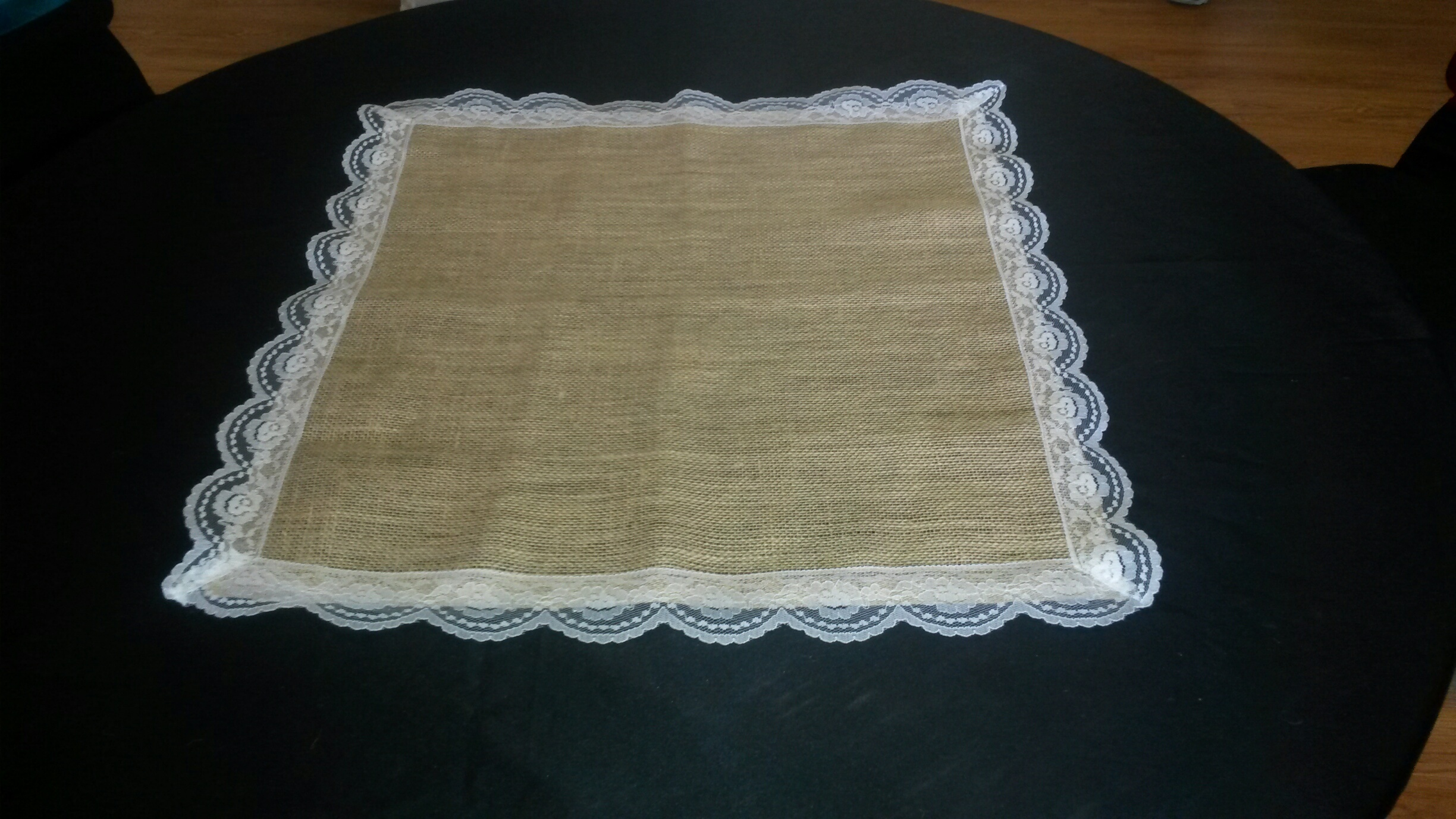 Burlap Square with White Lace