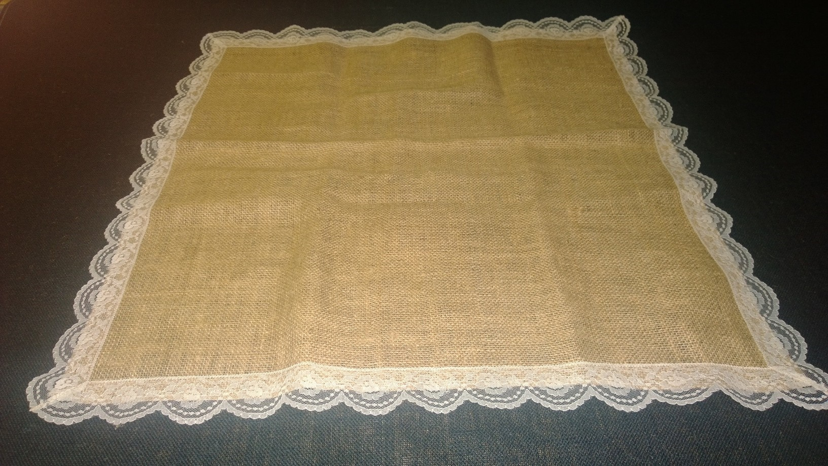 Burlap with Lace Square (ivory lace)