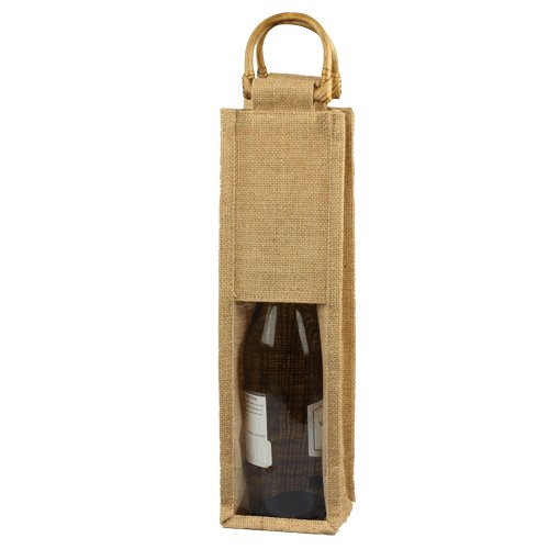 "4"" x 4"" x 14"" Burlap Wine Bag - Natural w/Clear Window"