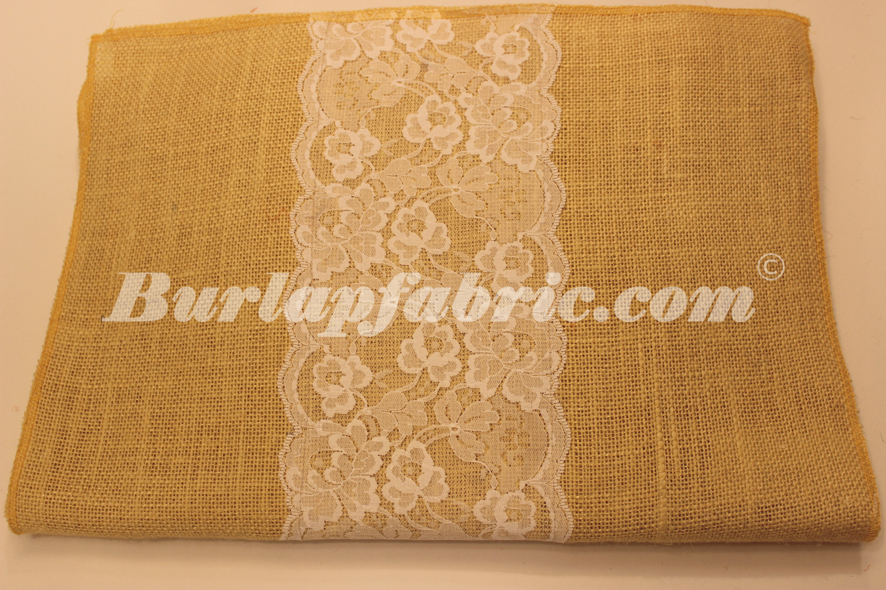"14"" Butter Burlap Runner with 6"" White Lace"