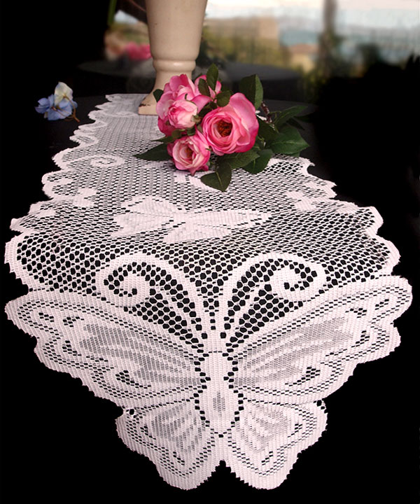 "Butterfly Lace Ribbon 13"" x 96"" - White"
