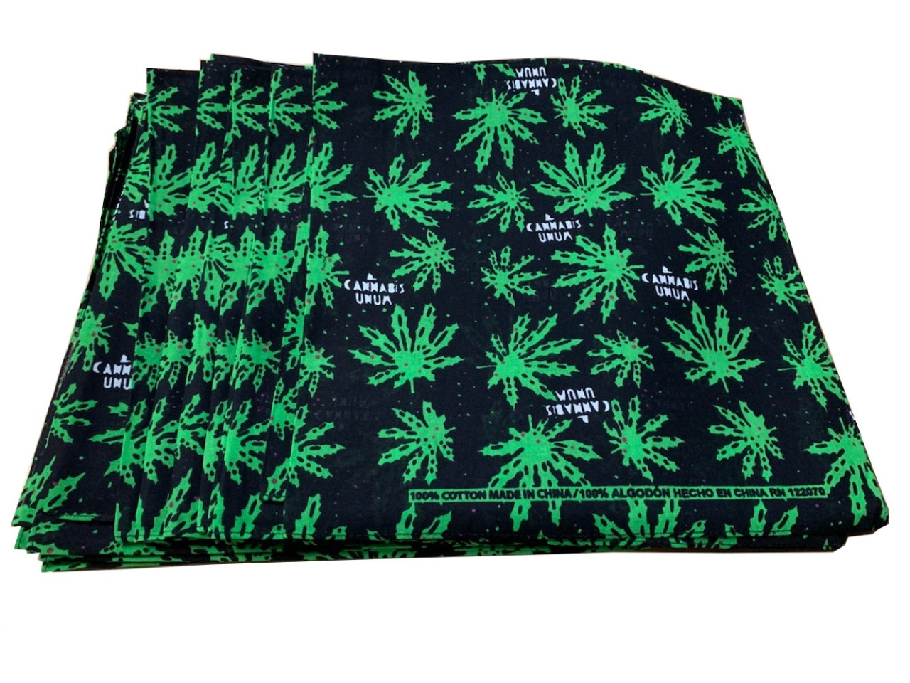 "Cannabis Marijuana Bandanas 12 Pack 22"" x 22"" - 100% Cotton"