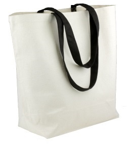 "Canvas Tote Bag With Black Accents 18"" x 15"" x 5-3/4"""