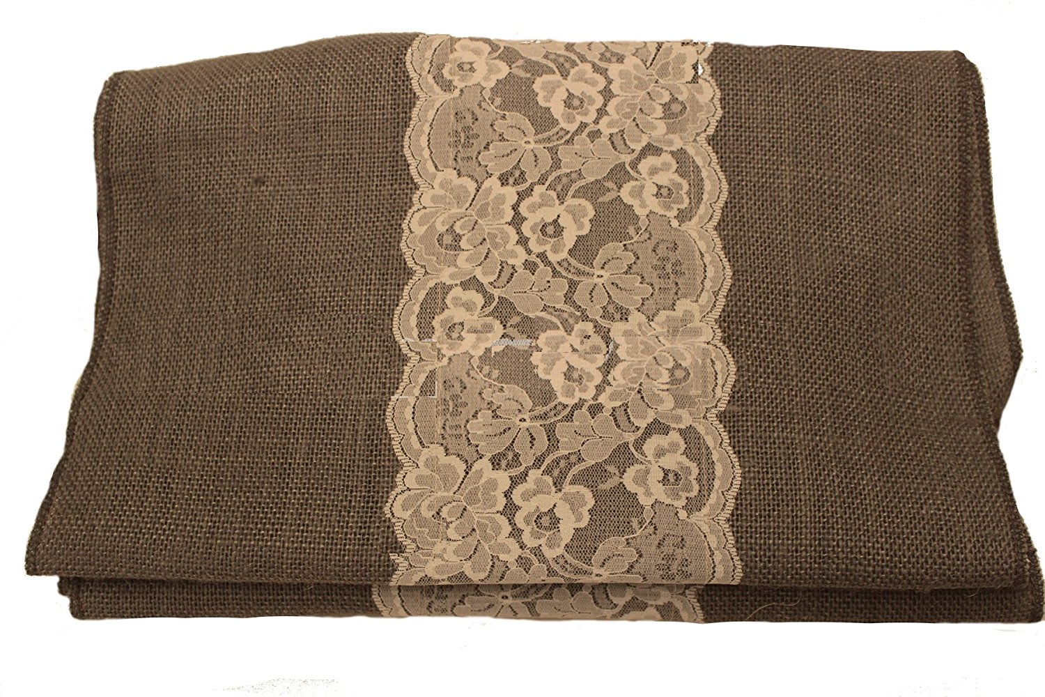 "14"" Charcoal Grey Burlap Runner with 6"" Ivory Lace"