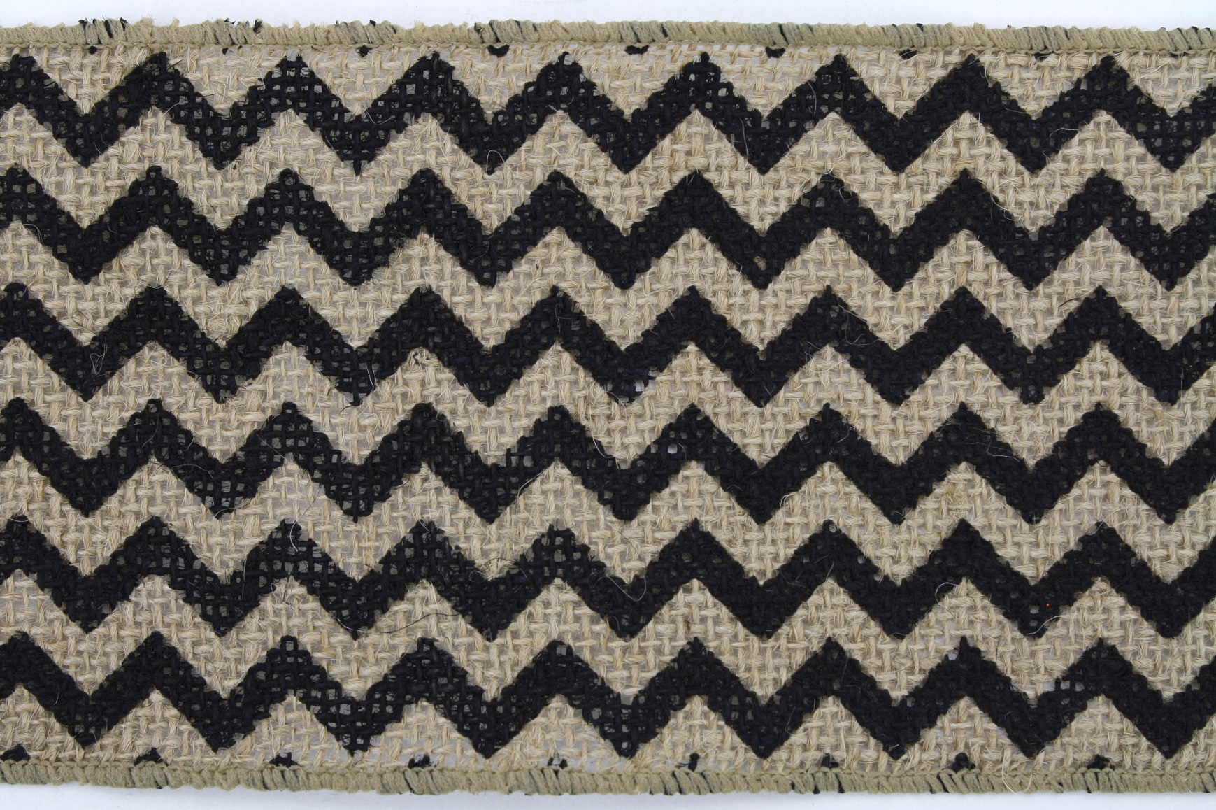 "4"" Burlap Chevron 10 Yds - Black"