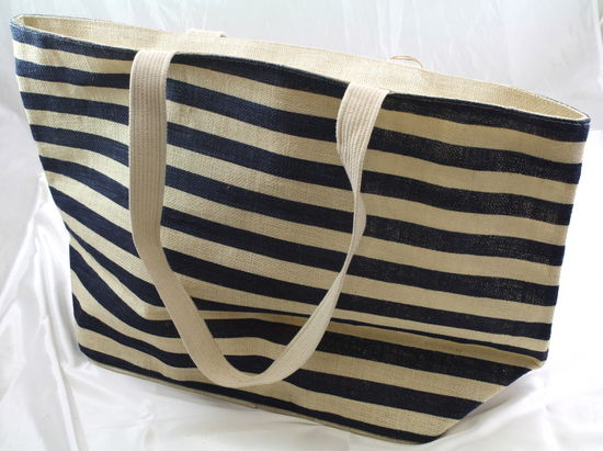 "Chevron Jute Beach Bag 21"" x13.5"" Ivory/Navy"