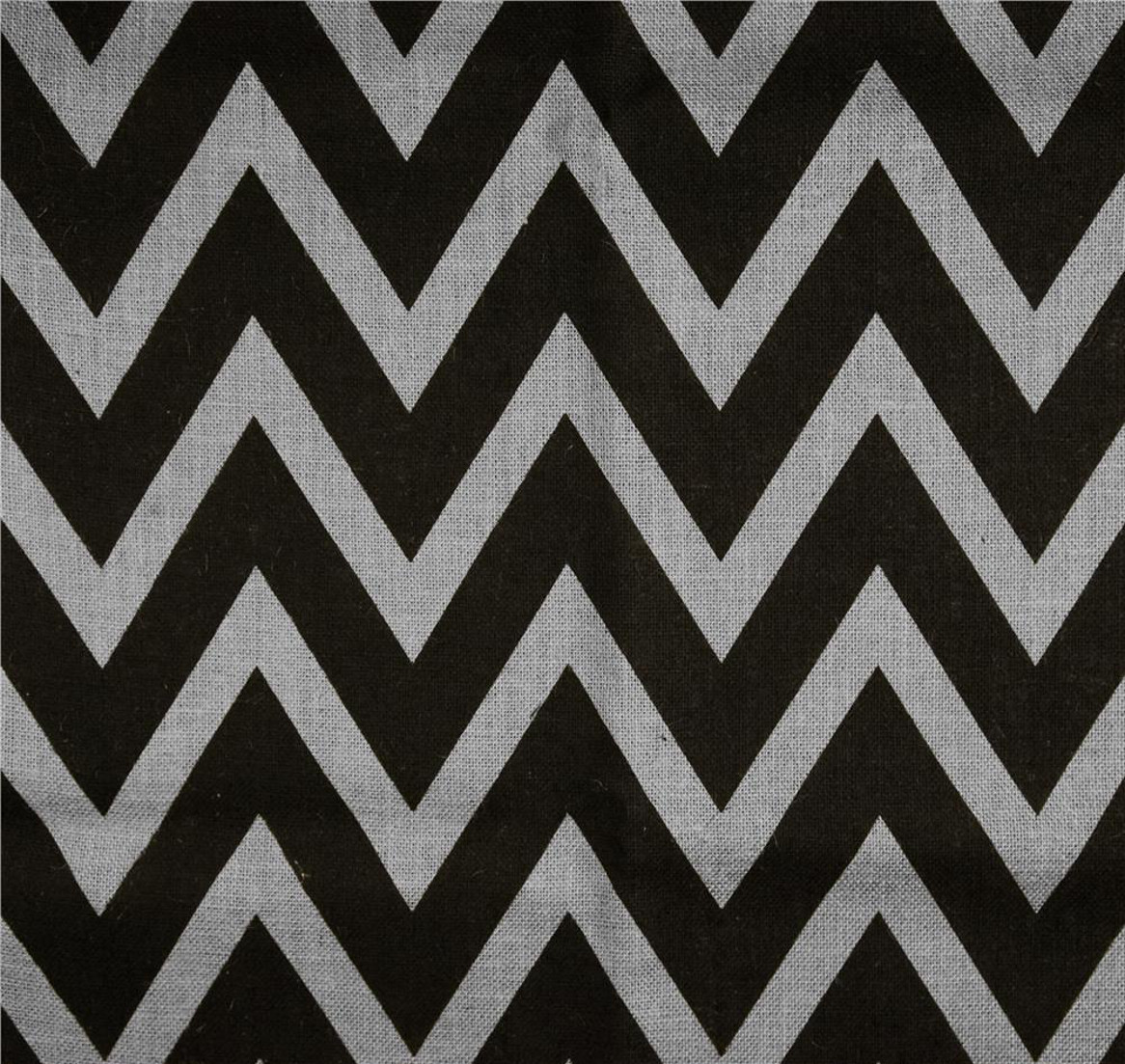 "Light Grey Black Chevron Burlap 60"" By The Yard"
