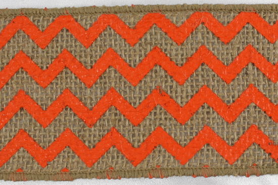 "2.5"" Natural/Orange Chevron Burlap Ribbon - 10 Yards"